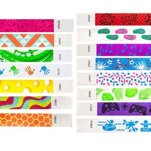 "¾"" Tyvek® In-Stock Assorted Designs Wristbands"